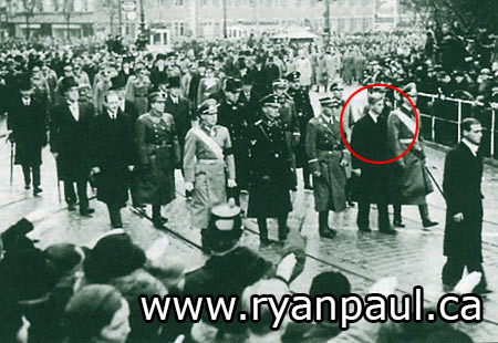 Prince Philip shown here at the funeral of his sister Cecile surrounded by Nazis.