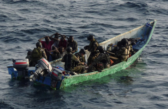 Commandos from French frigate Le Floreal arrest nine Somali pirates in the Gulf of Aden in this January 27, 2009 photo released on Wednesday by the French Navy. As foreign navies fight increasingly brazen gangs that hijack commercial vessels in busy shipping lanes. France has captured 57 pirates in seven such operations since last April. (HO/Reuters)